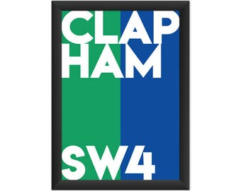 Clapham Typography SW4 - Giclée Art Print - South London Poster