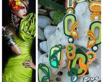 "Set soutaches ""Spring"" style necklace and earrings boho chic green yellow white orange. Cheerful gift for her."