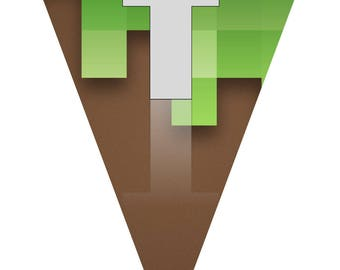 Minecraft Printable Pennants (spells out Minecraft)