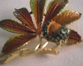 Exquisite horse chestnut leaf and conker Autumn brooch