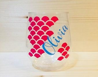 Mermaid Steamless Shatter Proof Plastic Wine Glass