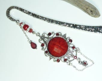 """Large silver Crystal jewel red """"samourail"""" bookmark"""