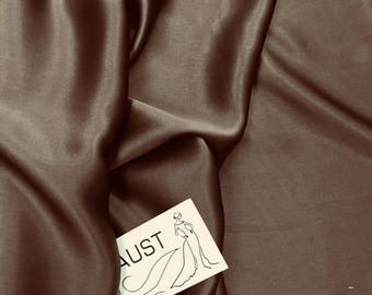 """Pure silk Brown color, plain dyed fabric by the metre 110 cm (43"""") wide  by the Yard silk fabric"""