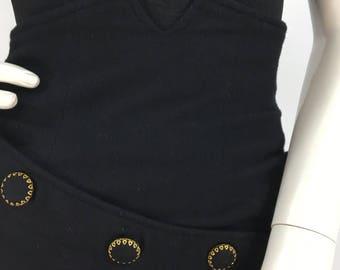 1980s high waist black 100% wool vintage mini skirt