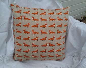 Handmade cushion cover. Natural with red orange foxes. 16 inch. Happy fox.