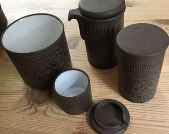 Hornsea Palatine 1970's stoneware condiment set (no salt pot)