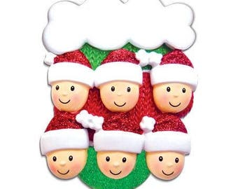 Mitten with faces Family of 6 Personalized Christmas Ornament - Christmas Mitten Ornament - Mitten Family Ornament