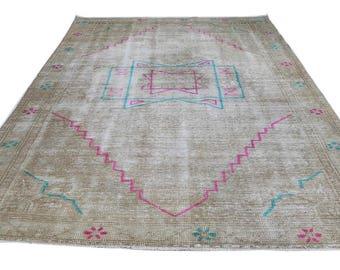 "Vintage Turkish Rug, Hand Knotted Wool Rug, Ethnic Rug, Natural Hand Made Area Rug, Boho Floor Rug, kilim rug 4'3"" X 7'6"" (132 Cm x 233 Cm)"