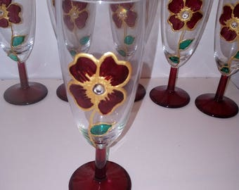 set 6 glasses with hand-decorated flowers with stones and glass paintings