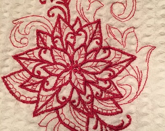 Red Poinsettia Embroidered Dish Towel Waffle Weave 100% Cotton