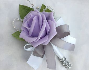 Artificial Wedding Flowers, Buttonholes, Boutonnieres, Ladies Corsage, Lilac Roses with crystals and diamantes