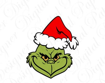 The Grinch Santa SVG & Studio 3 Cut File Cutouts Files Logo Stencil for Silhouette Logos Cricut Decals SVGS Stole Christmas Dr Seuss Holiday