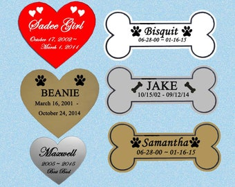 Heart or Bone Shape Engraved Pet Memorial Personalized Name Plate Dog Cat Any Pet