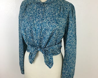 Women's Blue Vintage Blouse- Large- Modern Print