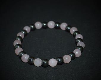 Rose quartz and hematite bracelet