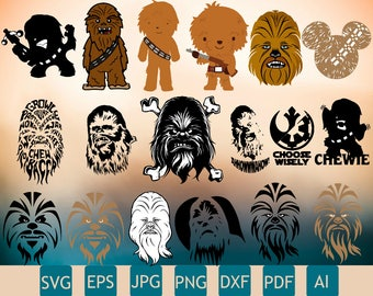 18 Chewbacca Clipart | Chewbacca Svg | Chewbacca Silhouette | Few Layers | Perfect for Cricut | Printable | Insta Download