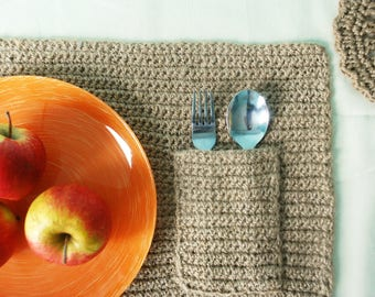 Table Mat/ Knitting From Jute/ Single Table Mat Wit/ Rustic Table Mats/