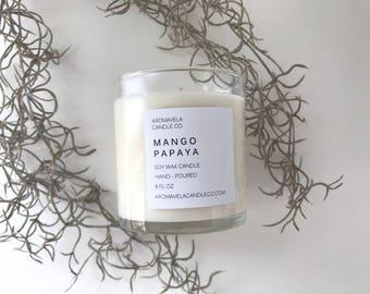 MANGO PAPAYA soy wax candle soy candle AromaVela Candle Co