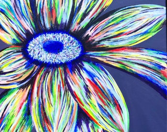 Hand-Painted Multi Color Flower Canvas Painting