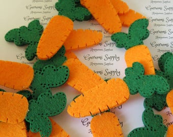 Carrot Shaped Felt Accessories – Green Top with Orange Bottom – 31mm x 65mm – 3 Count / Easter / Bunny / Carrot/ Felt Appliques