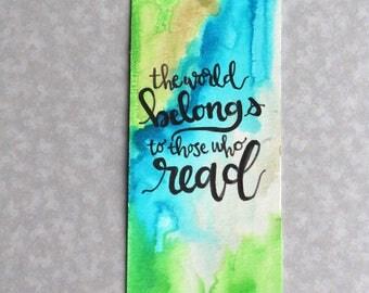Custom Marble Watercolor Quote Bookmark