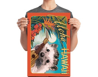 Hedgehog Playing Ukulele Aloha Hawaii Poster by Urchin Wear