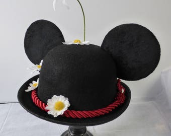 Minnie Poppins  Bowler Derby hat, Minnie Mouse ears, Mary Poppins hat