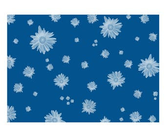 Unique High Quality Blue Floral Gift Wrapping Paper-Size A3 - GP109