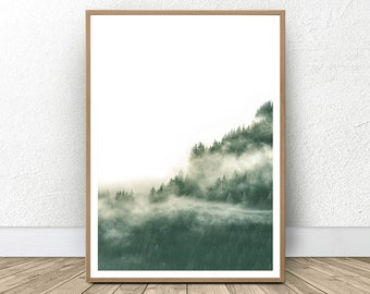 Modern Forest, Foggy Forest, Apartment Decorating, Forest Hills Decor, Misty Forest Print, Best Sellers, Hills Print, Foggy Nature, Decor