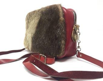 Fur bag/vintage red leather shoulder bag with pony insert 70 years