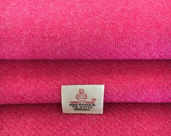 Pink Harris Tweed, 30 x 25cm, 100% Wool Fabric, With Authenticity Label, Shocking, Bright, Hot, Barbie, Pink