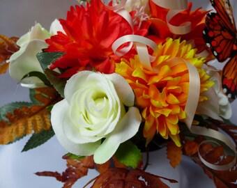 Artificial Floral arrangement/grave pot/ memorial/ long lasting sealed in cellophane