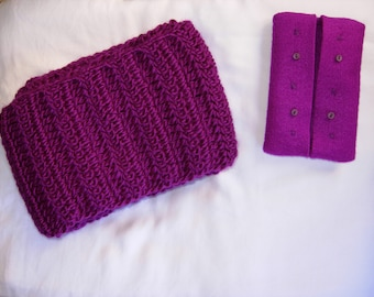 Mauve Yarn Handmade Knitted Crocheted Scarf and Felt Portable Tissue Pouch, luxurious, elegant, gift