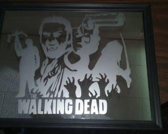 The Walking Dead Silhouette Mirror Art Home Decor Wall Decor Wall Art Gift For Him Gift For Her TWD AMC Michonne Rick Grimes Daryl Dixon