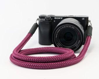 Shoulder strap for cameras burgundy burgundy-Camerastrap burgundy-Worldwide shipping-Kamergurt for all camera types-desired length