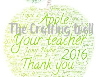 Personalised teachers gift, word art gift, green apple, teachers thank you gifts, apple word art, teachers apple,  apple for teachers,