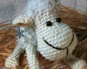 Crochet sheep  Amigurumi toy Stuffed animals   White sheep with snowflake Home decor Gift for children Gift for friend