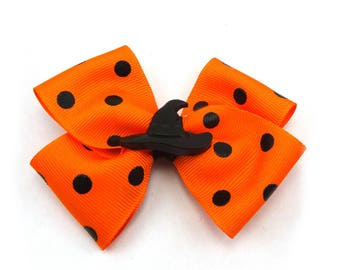 "4"" Orange and Black Stacked Halloween Bow, Witch Hat Boutique Bow, Halloween Bow, Girl's Hair Bow, Polka Dot Ribbon Bow, Halloween Hair Bow"