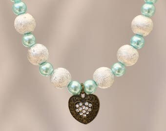 Teal & Frosty White Pearls with gem studded heart