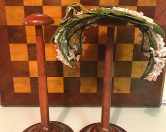 Vintage Wood Hat Stands Butterfly and Lily of the Valley Design Vanity Item