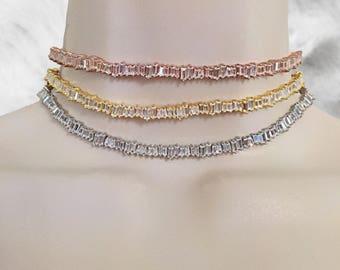 Baguette Choker | Baguette Choker Necklace | Diamond Baguette Choker Necklace | Diamond Choker | Bridal Daimond | Diamond Choker