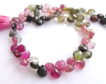 Multi Tourmaline Heart Beads, Size- 5x6 MM, Natural Tourmaline Beads, AAA Quality, Faceted,Bead, Natural Gemstone, 8 INCH