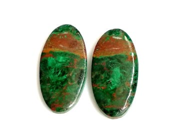 Chrysocolla Oval Pair Cabochon,Size- 24x12 MM, Natural Chrysocolla, AAA,Quality  Loose Gemstone, Smooth Cabochons.