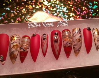 Devil Wearing Prada  Stiletto Nails   Long Press On Nails   Glue On Nails  Painted Nails   Rhinestone Nails   Bling Nails