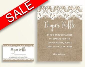 Diaper Raffle Baby Shower Diaper Raffle Burlap Lace Baby Shower Diaper Raffle Baby Shower Burlap Lace Diaper Raffle Brown White W1A9S