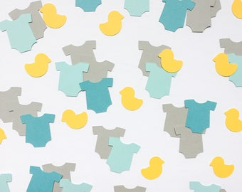 Baby Onesie and Duckie Confetti, Baby Shower Confetti, Baby