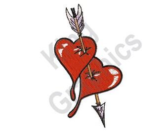 Hearts With An Arrow - Machine Embroidery Design, Hearts, Arrow