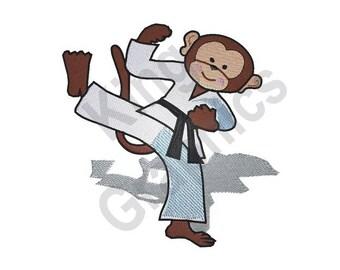 Karate Monkey - Machine Embroidery Design, Karate, Monkey