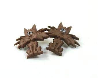 Cat earrings, Cat studs, Whisks cat earrings, Brown cat studs, Cat lovers gift, Pet studs