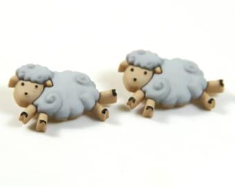 Sheep earrings, Sheep studs, Sheep jewelry, Gray sheep earrings, Gray sheep jewelry